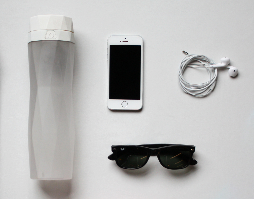 bottle+glasses+phone+earphones