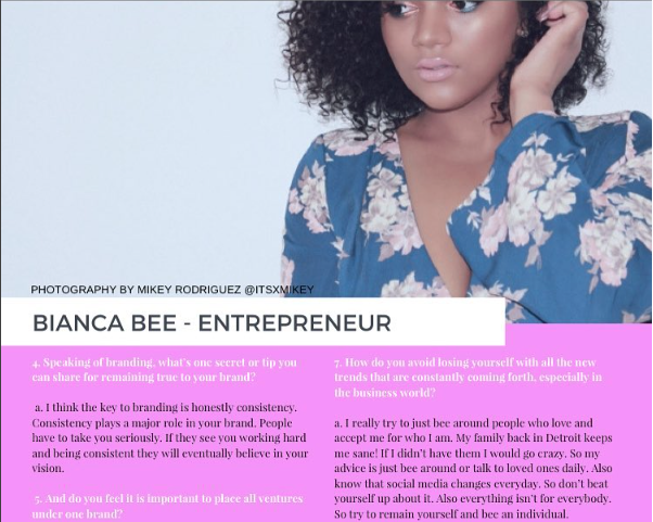 Bianca Bee on Magazine